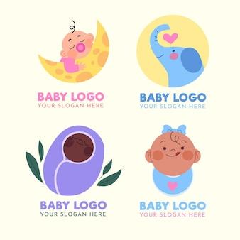 Collezione di logo del bambino con slogan