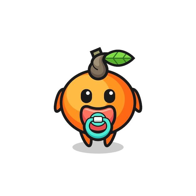Personaggio dei cartoni animati di mandarino bambino con ciuccio, design in stile carino per t-shirt, adesivo, elemento logo