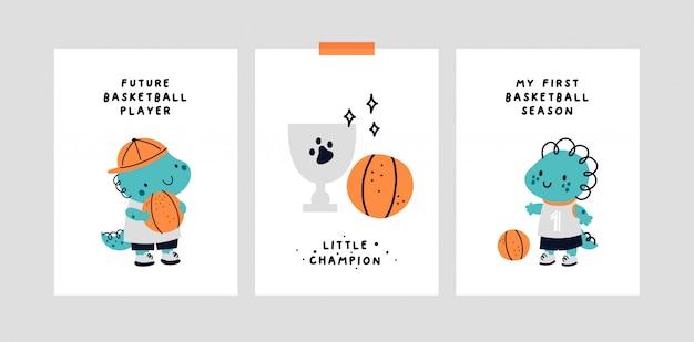 Carta cardine del bambino. dinosauro di pallacanestro. stampa baby shower che cattura tutti i momenti speciali