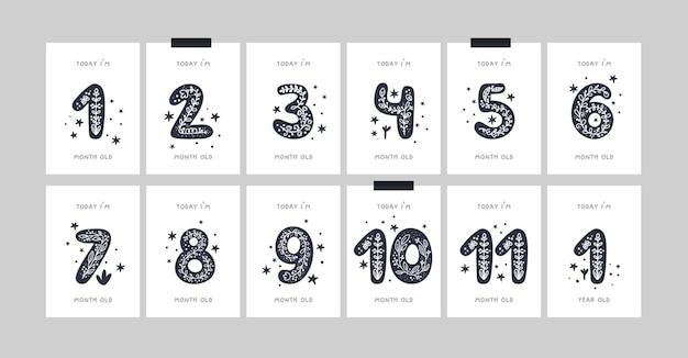 Carte cardine del bambino con fiori e numeri per neonato o ragazzo. stampa di baby shower. carte mensili o mensili