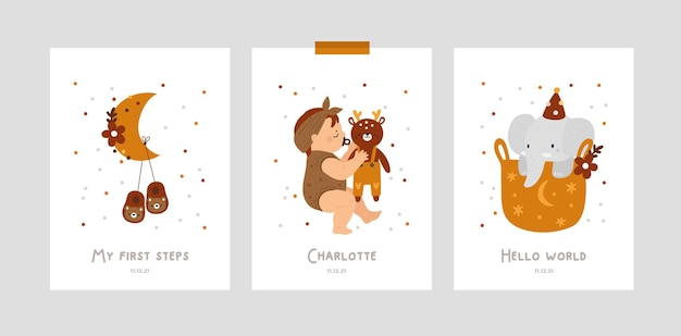 Carte cardine del bambino con bambino che dorme e giocattoli per neonato o ragazzo