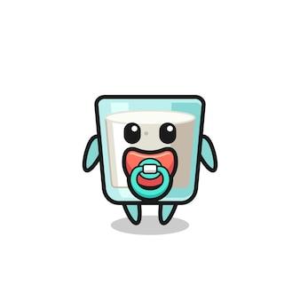 Personaggio dei cartoni animati di latte per bambini con ciuccio, design in stile carino per maglietta, adesivo, elemento logo