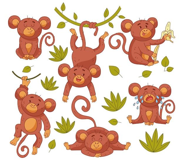 Personaggio del bambino scimmia bambino in posizione diversa insieme isolato