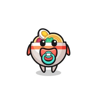 Personaggio dei cartoni animati di ciotola di noodle per bambini con ciuccio, design in stile carino per maglietta, adesivo, elemento logo