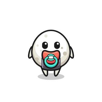 Personaggio dei cartoni animati onigiri bambino con ciuccio, design in stile carino per maglietta, adesivo, elemento logo