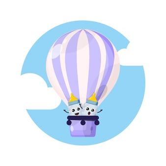 Logo del personaggio mascotte della mongolfiera del bambino ciuccio