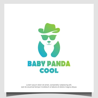 Fantastico design del logo del panda del bambino