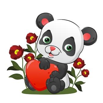 Il cucciolo di panda tiene in mano il palloncino del cuore con le sue mani di illustrazione