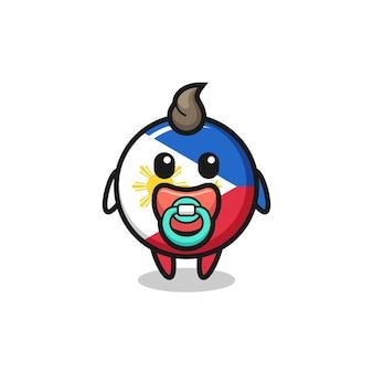Baby filippine bandiera distintivo personaggio dei cartoni animati con ciuccio, design in stile carino per t-shirt, adesivo, elemento logo