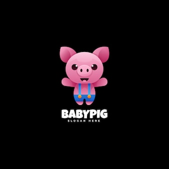 Modello di logo di stile colorato gradiente di maiale del bambino