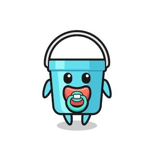 Personaggio dei cartoni animati di secchio di plastica per bambini con ciuccio, design in stile carino per maglietta, adesivo, elemento logo
