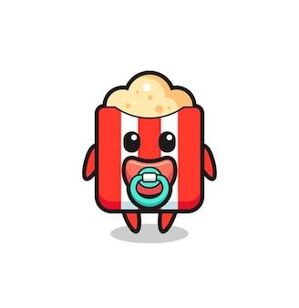 Personaggio dei cartoni animati di popcorn per bambini con ciuccio, design in stile carino per maglietta, adesivo, elemento logo
