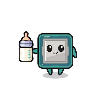 Personaggio dei cartoni animati del processore per bambini con bottiglia di latte, design in stile carino per maglietta, adesivo, elemento logo