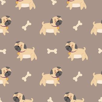 Baby pugs bambini seamless pattern