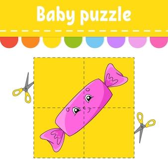 Baby puzzle livello facile schede flash taglia e gioca