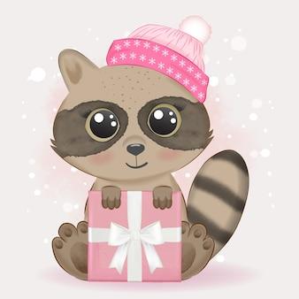 Baby raccoon e confezione regalo illustrazione ad acquerello