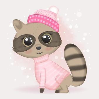 Baby raccoon and snow illustrazione dell'acquerello