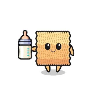 Personaggio dei cartoni animati di noodle istantanei crudi per bambini con bottiglia di latte, design in stile carino per maglietta, adesivo, elemento logo