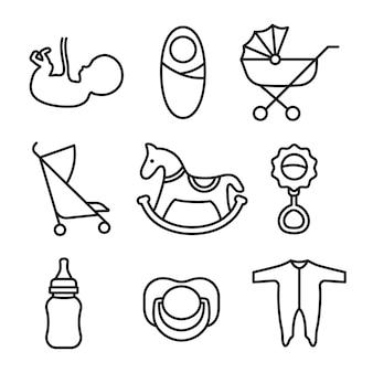 Icone di linea silhouette contorno relative al bambino isolate su sfondo bianco
