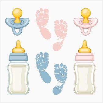 Set di illustrazioni per rivelare il bambino
