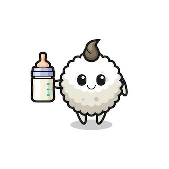 Personaggio dei cartoni animati di palla di riso per bambini con bottiglia di latte, design in stile carino per maglietta, adesivo, elemento logo