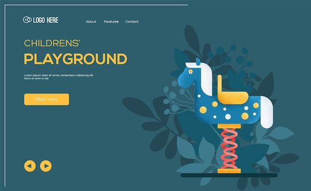 Volantino del concetto di giro del bambino, banner web, intestazione dell'interfaccia utente, entra nel sito. altalena per bambini