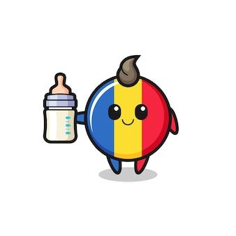 Bambino bandiera romania distintivo personaggio dei cartoni animati con bottiglia di latte, design in stile carino per t-shirt, adesivo, elemento logo