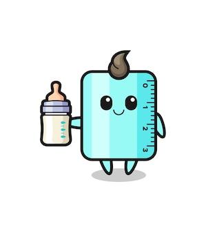 Personaggio dei cartoni animati righello bambino con bottiglia di latte, design in stile carino per t-shirt, adesivo, elemento logo