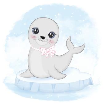 Cucciolo di foca sul lastrone di ghiaccio cartone animato animale acquerello