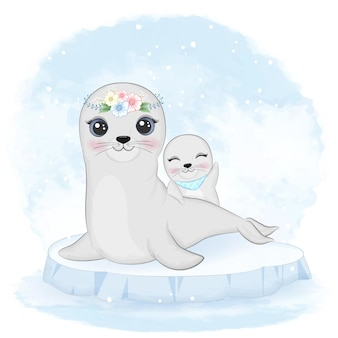 Foca e mamma del bambino sull'acquerello animale lastrone di ghiaccio