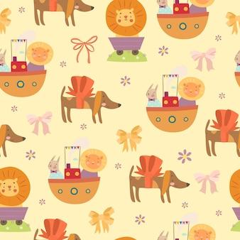 Seamless pattern bambino con gli animali