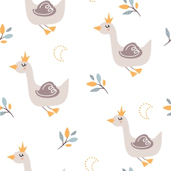 Baby seamless pattern con simpatici cigni