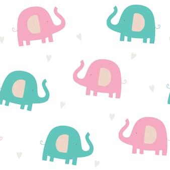 Modello senza cuciture per bambini con elefanti elefanti carini colorati con cuori su sfondo bianco