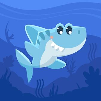 Cartone animato squalo bambino