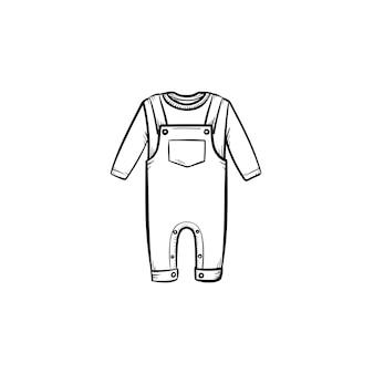 Icona di doodle di contorno disegnato a mano camicia e pantaloni del bambino. insieme dell'abbigliamento dell'abbigliamento del bambino di camicia e pantaloni illustrazione di schizzo vettoriale per stampa, web, mobile e infografica isolato su priorità bassa bianca.