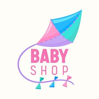 Banner baby shop con aquilone volante di colori rosa, blu e lilla