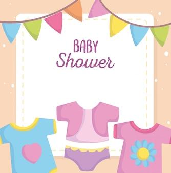 Baby shower, abiti tuta body cartoon, annuncio carta di benvenuto neonato