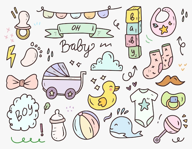 Baby shower boy icona doodle disegno insieme di raccolta