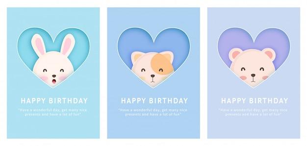 Scheda dell'acquazzone di bambino, scheda del modello di auguri di compleanno con coniglio, gatto e orso in stile taglio carta.