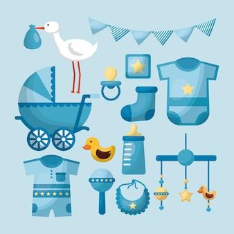 Bambino doccia carta ragazzo vestiti giocattoli celebrazione giorno blu gagliardetti cicogna