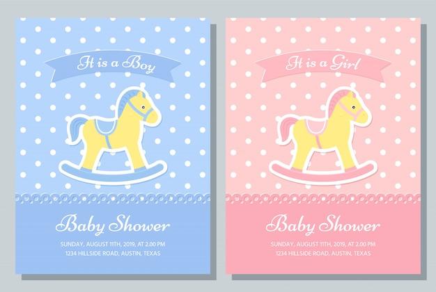 Design della carta baby shower. illustrazione. invito al modello di compleanno.