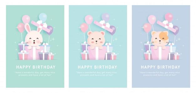 Scheda dell'acquazzone di bambino, set di carte modello di auguri di compleanno con coniglio, gatto e orso in piedi in scatole regalo in stile taglio carta.