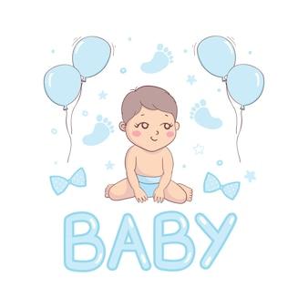 Modello di carta per l'acquazzone del bambino. baby shower invito con il bambino
