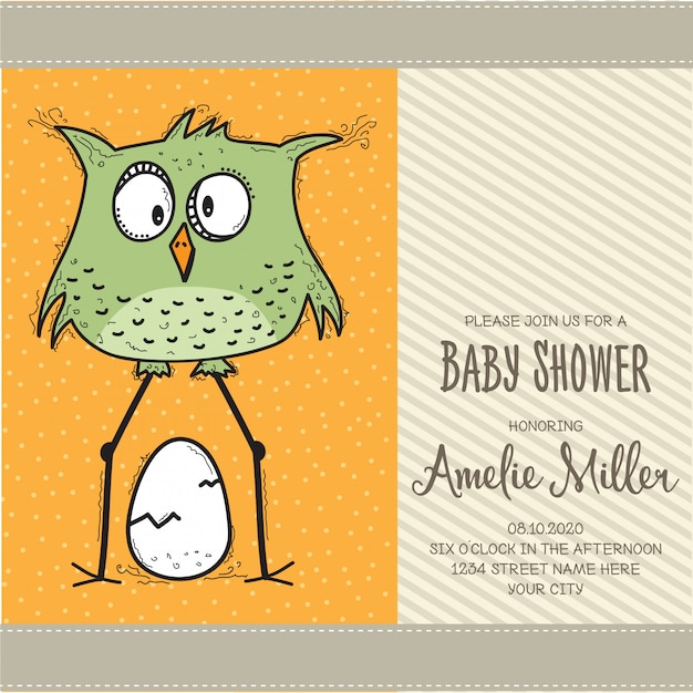 Modello di carta di baby doccia con uccello divertente di doodle