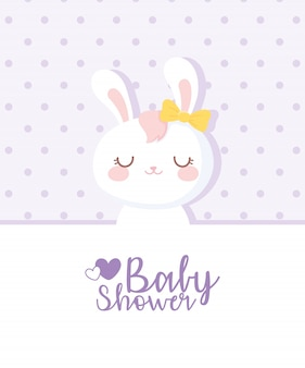 Baby shower card, white rabbit girl, welcome appena nato celebrazione card