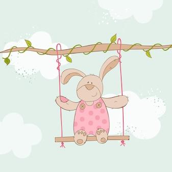 Baby shower card con baby bunny