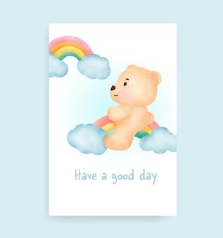 Biglietto per battesimo con simpatico orsetto e arcobaleno