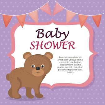 Baby shower card con simpatico orso