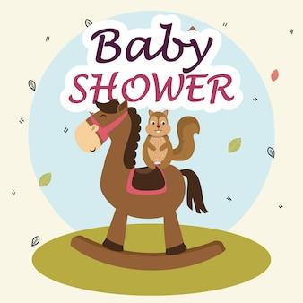 Baby shower card con simpatico scoiattolo in legno di cavallo