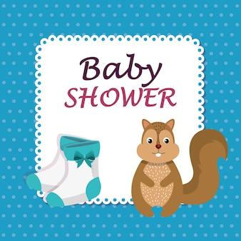 Carta di baby shower con chipmunk carino